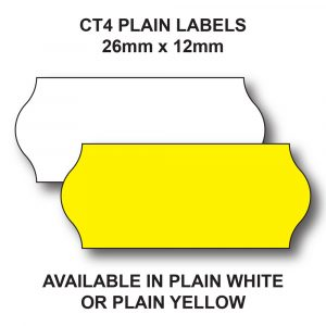 CT4 Price gun labels yellow or white for 1 line label guns